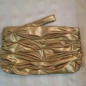 Gold Ruched Clutch Purse Bag